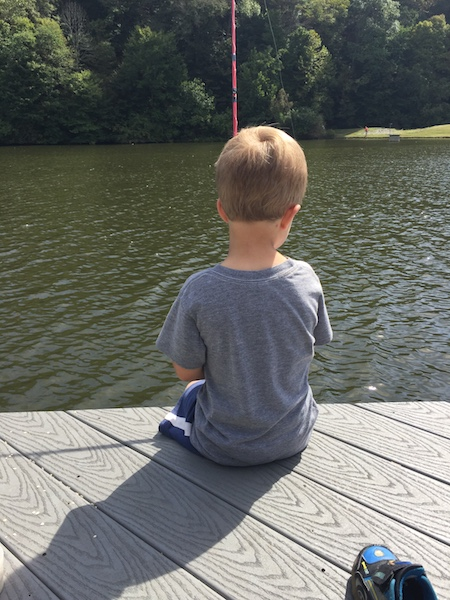 Dalton fishing on the dock
