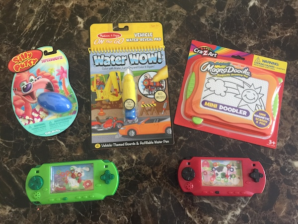 silly putty, water wow, magna doodle, and 2 water games