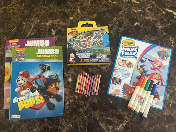 2 coloring books, crayons, mess-free crayons coloring book with markers, and Mickey Mouse sticker kit