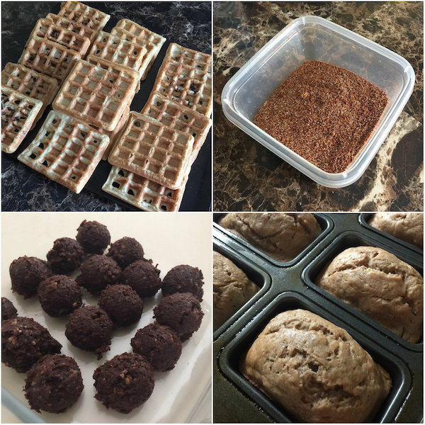 waffles, taco seasoning, larabar bites, mini banana bread