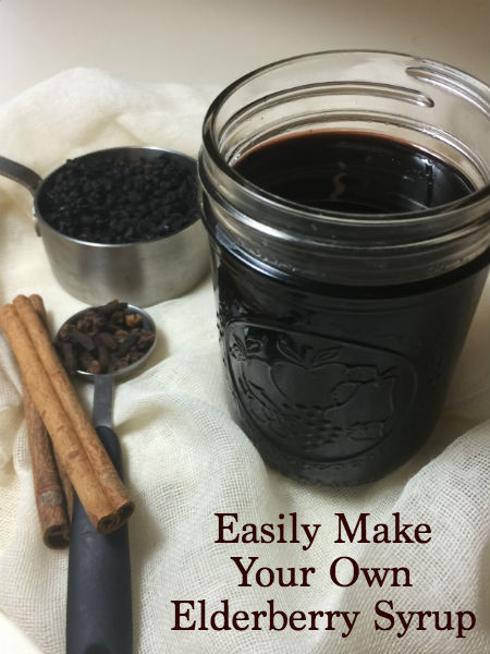 elderberry syrup, elderberries, cinnamon sticks and clove