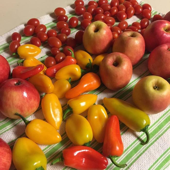 apples, lunchbox peppers and cherry tomatoes