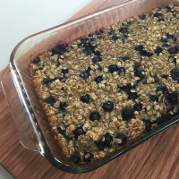 pan of blueberry baked oatmeal