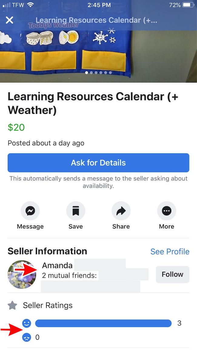 facebook marketplace seller rating