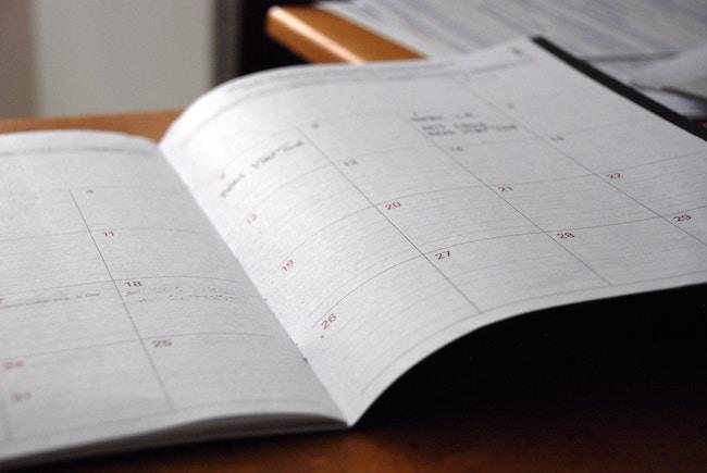 calendar open on table