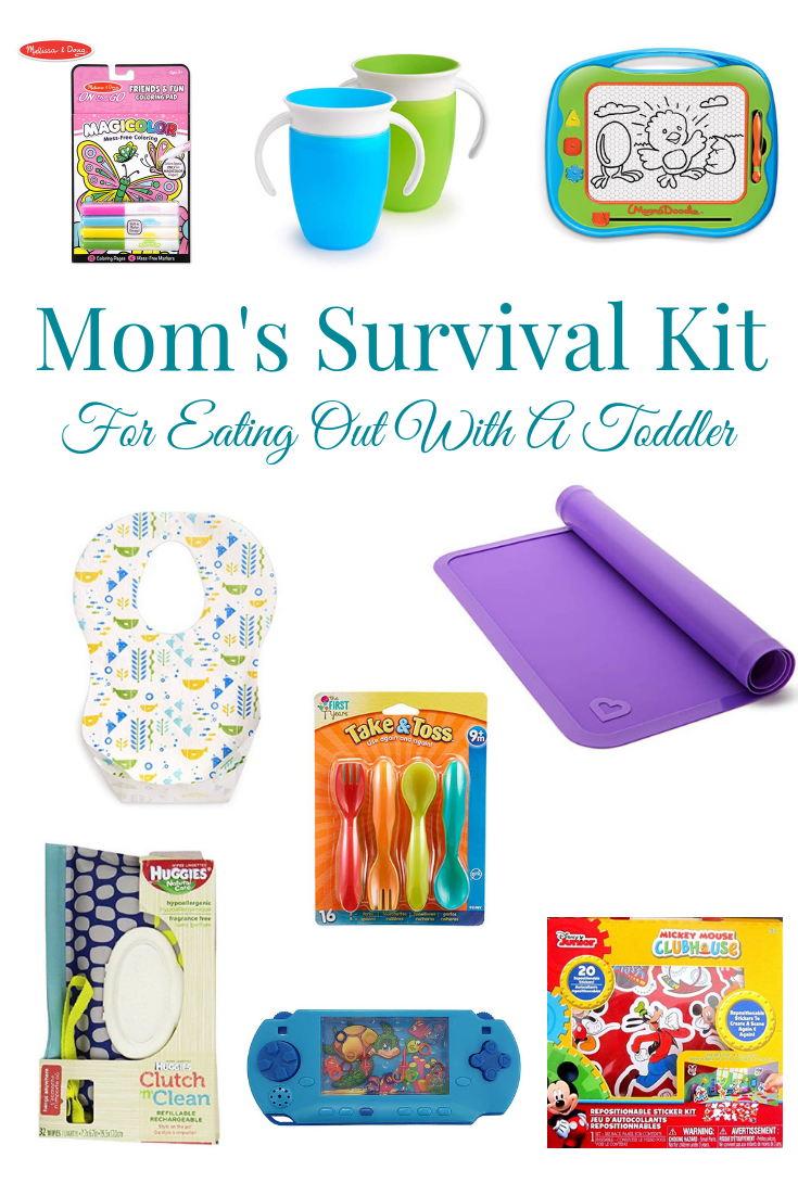 magic color, magna doodle, miracle cups, disposable bibs, reusable placemat, toddler flatware, etc