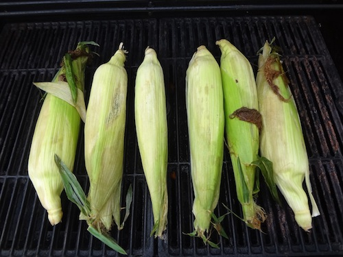corn on the cob in the husk on the grill