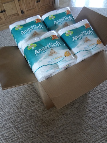 box of angel soft toilet paper