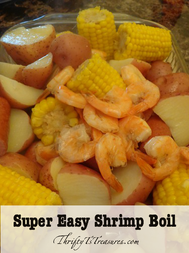 shrimp boil - corn, new potatoes, sausage and shrimp