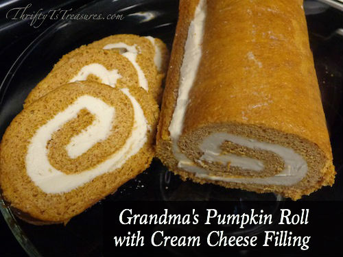 Grandmas Pumpkin Roll With Cream Cheese Filling