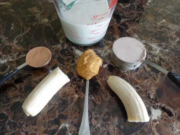 almond milk, cocoa, banana, peanut butter and chocolate protein powder