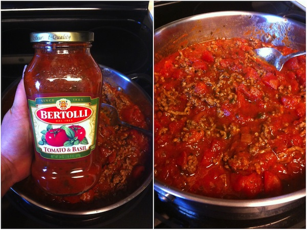 two pictures - bertolli pasta sauce and pasta sauce cooking in a pot