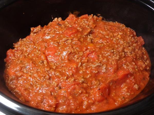 manicotti cooking in crockpot