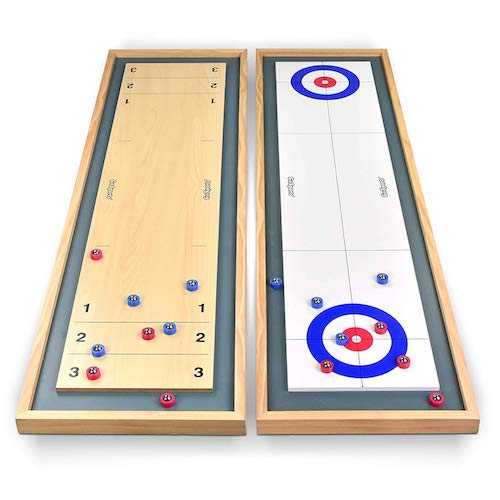 mini tabletop shuffleboard and curling set