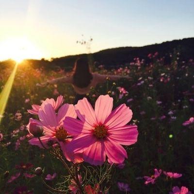 girl dancing in a field of flowers