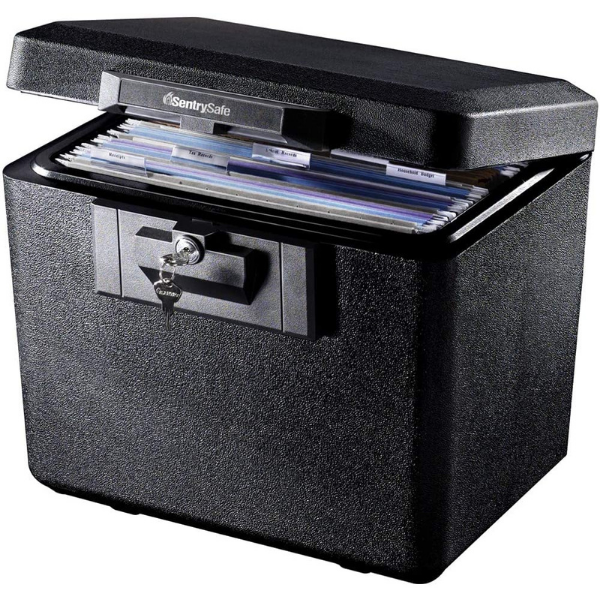 open lockbox with files