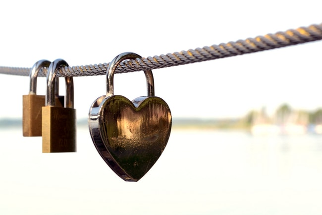 heart lock on a long rope