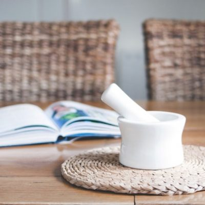 mortar and pestle on top of a table
