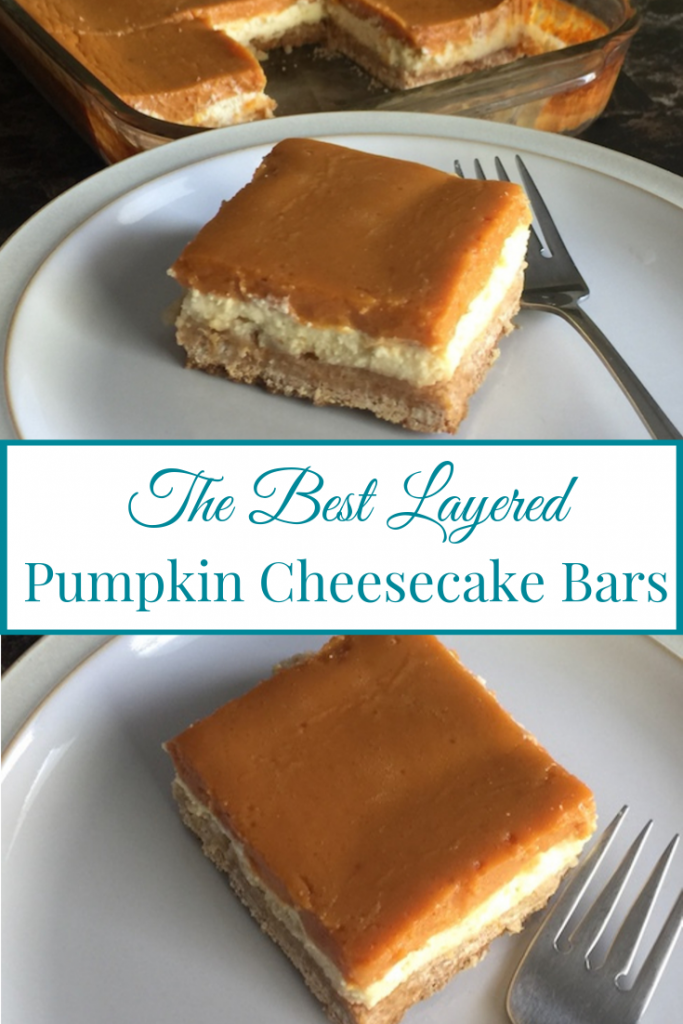 pumpkin cheesecake bar on plate beside pan