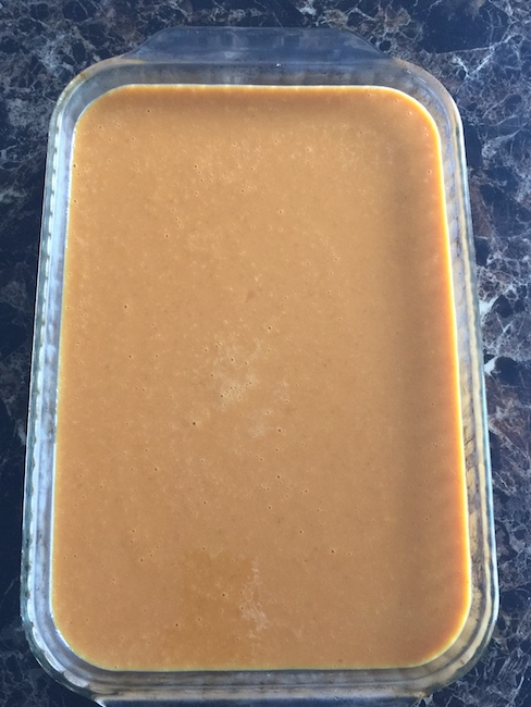 pan of cooked pumpkin cheesecake bars