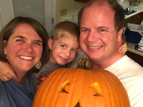 family with jack o lantern