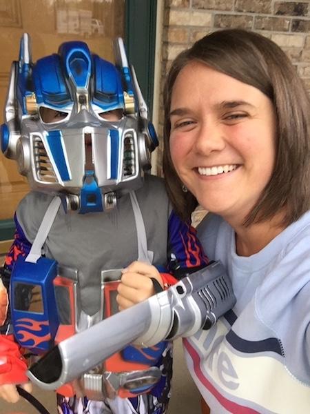 mom with child in Optimus prime costume