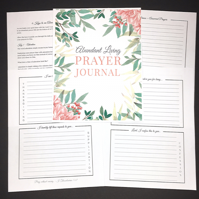 abundant living prayer journal printable pages