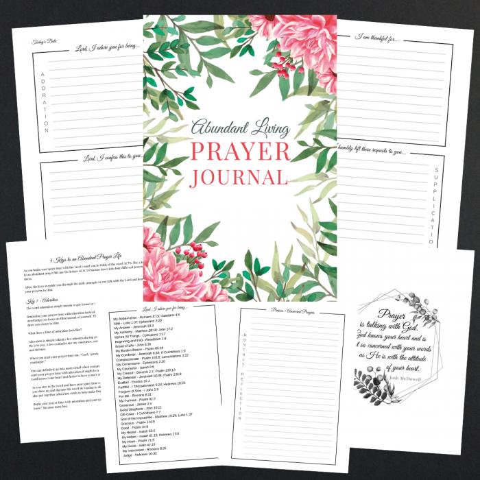 abundant living prayer journal printable version