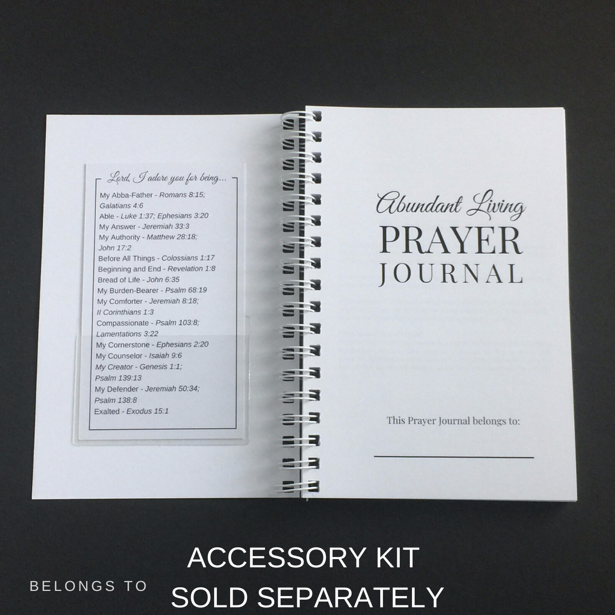 adoration accessory kit inside front cover of journal