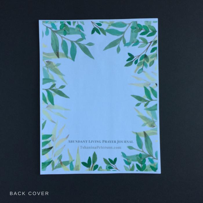 abundant living prayer journal back cover