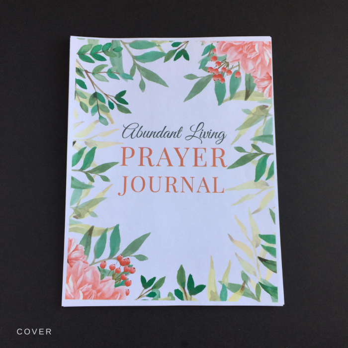 abundant living prayer journal front cover printable version