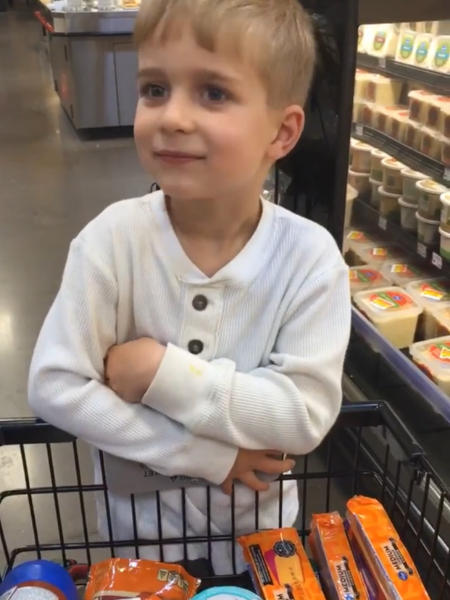 little boy on back of grocery cart
