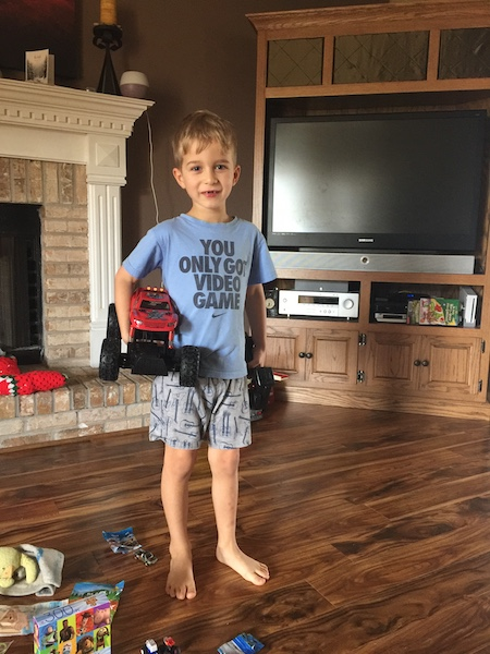 little boy with rc monster truck