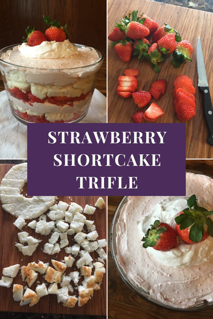 This homemade Strawberry Shortcake Trifle is absolutely delicious and you'll love how easy the no bake recipe is to make. Angel food cake layered with fresh strawberries and a cream cheese, whipped topping and strawberry mixture. It's simply the best and is sure to melt in your mouth at first bite!