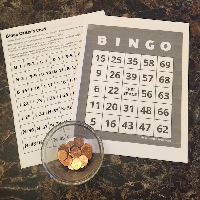 bingo cards and bowl of pennies