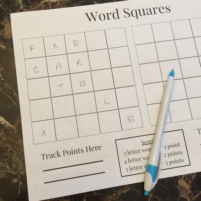 word squares card