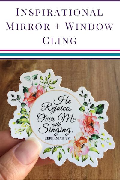 Zephaniah 3_17 floral Mirror Cling