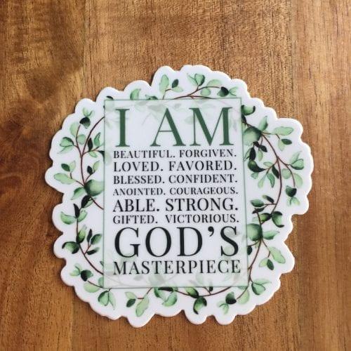 I am gods masterpiece sticker