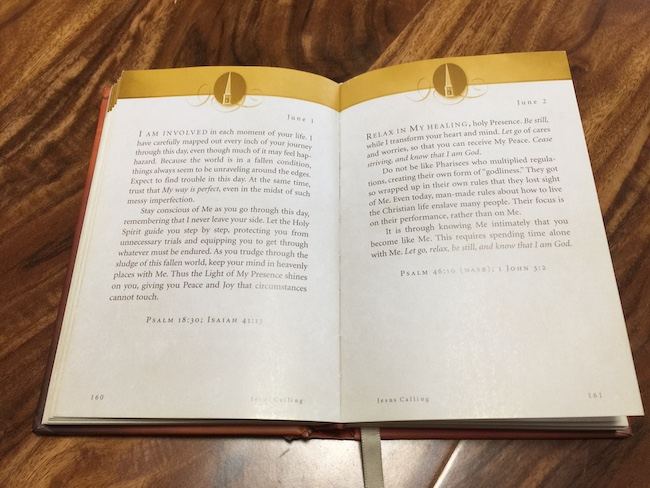 inside pages of Jesus Calling devotional