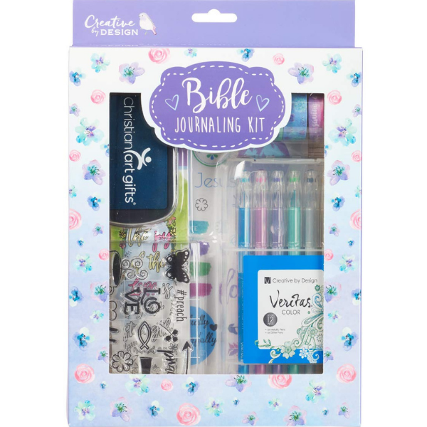 bible journaling kit with pens, stickers, ink, etc.