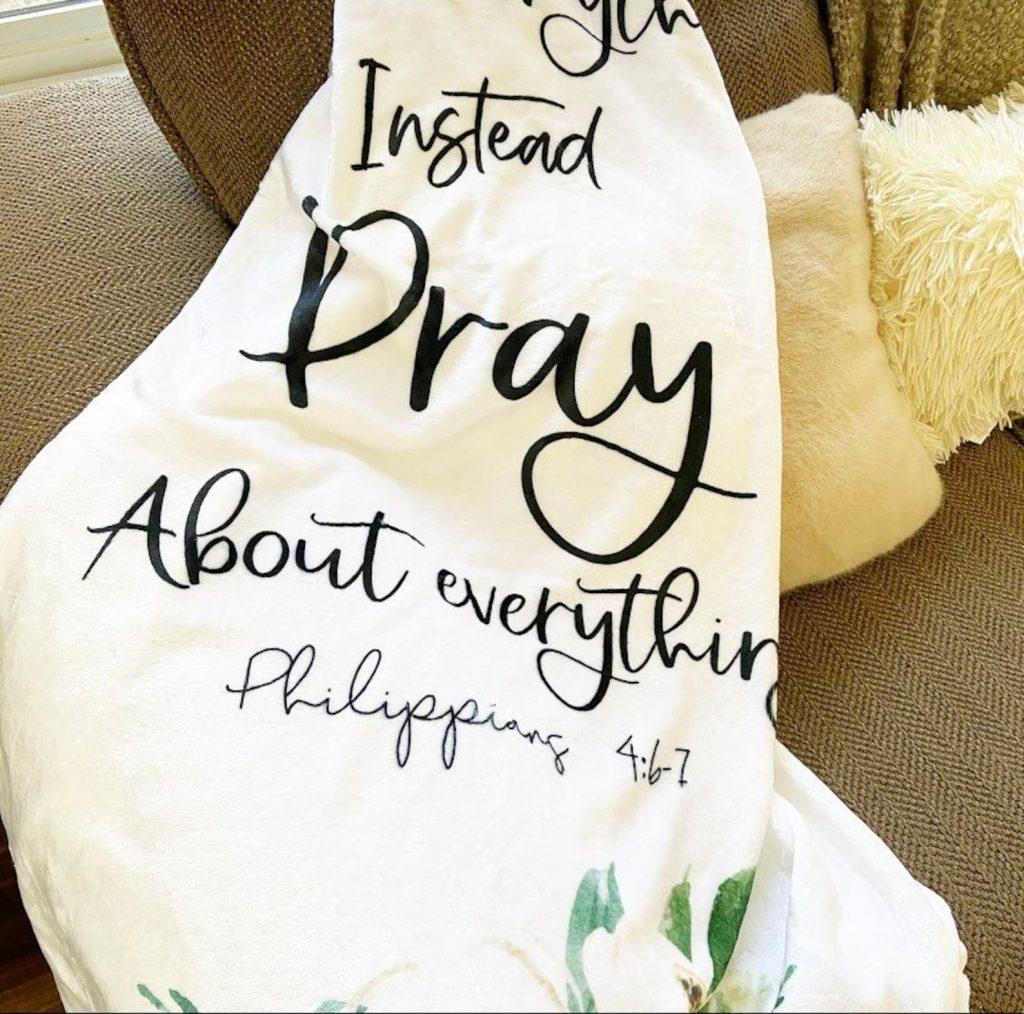 Philippians 4 6-7 throw blanket