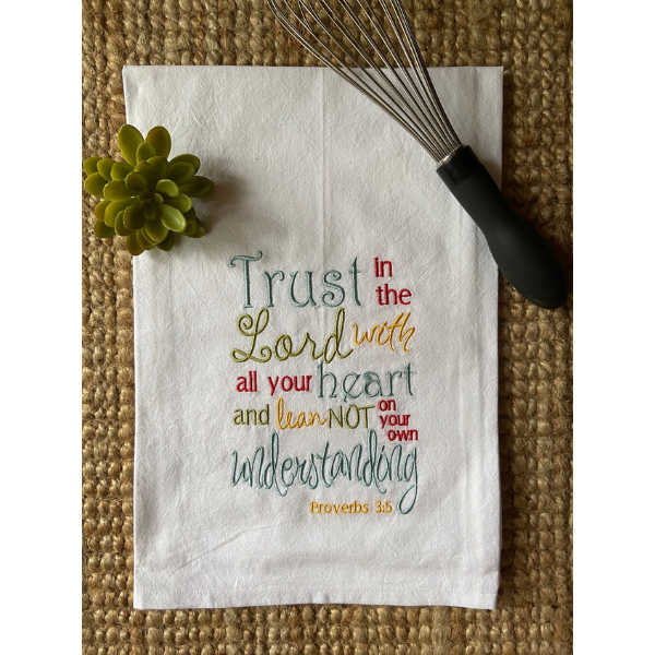 proverbs 3 5 tea towel with whisk on top